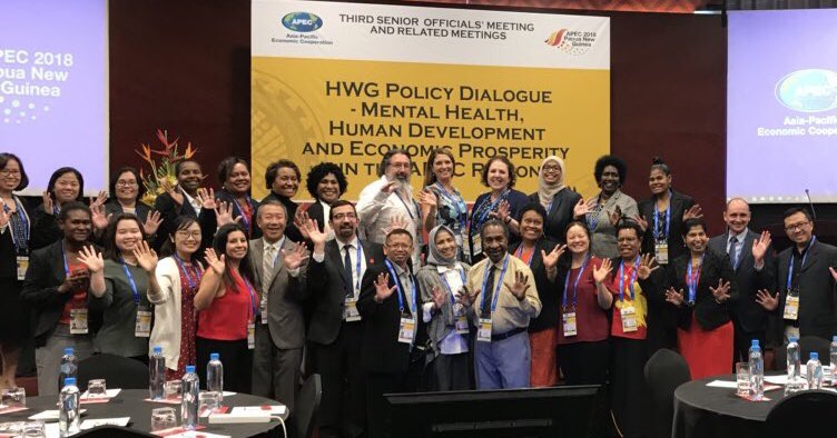 APEC delegates and guests pose for a group photo at the Health Working Group's Health Policy Dialogue on the theme of Mental Health